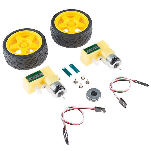 Geared DC motor, wheels, and encoders kit