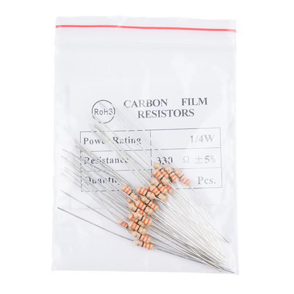 Resistor 330 Ohm 1/4 Watt PTH - 20 pack (Thick Leads)