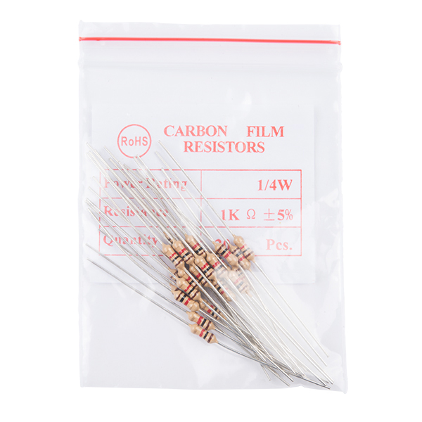 Resistor 1K Ohm 1/4 Watt PTH - 20 pack (Thick Leads)
