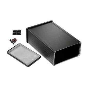 Shielded Extruded Aluminum Flanged Enclosure - 6.3x4.09x2.15 Black
