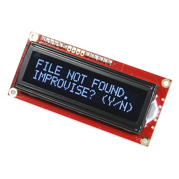 09067_action 01 sparkfun serial enabled 16x2 lcd white on black 3 3v lcd 09067  at gsmx.co