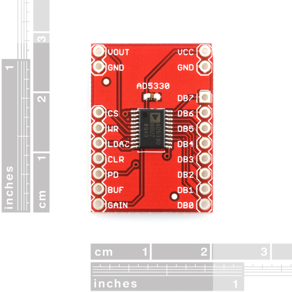 Breakout Board for AD5330 Parallel 8-Bit DAC