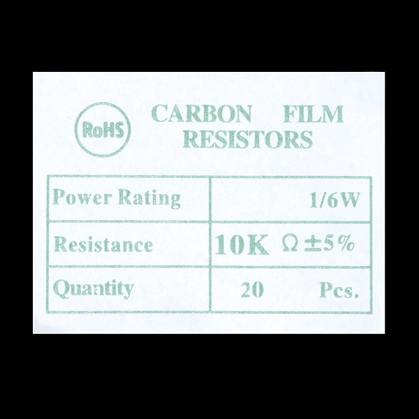 Resistor 10K Ohm 1/6th Watt PTH - 20 pack (Sale)
