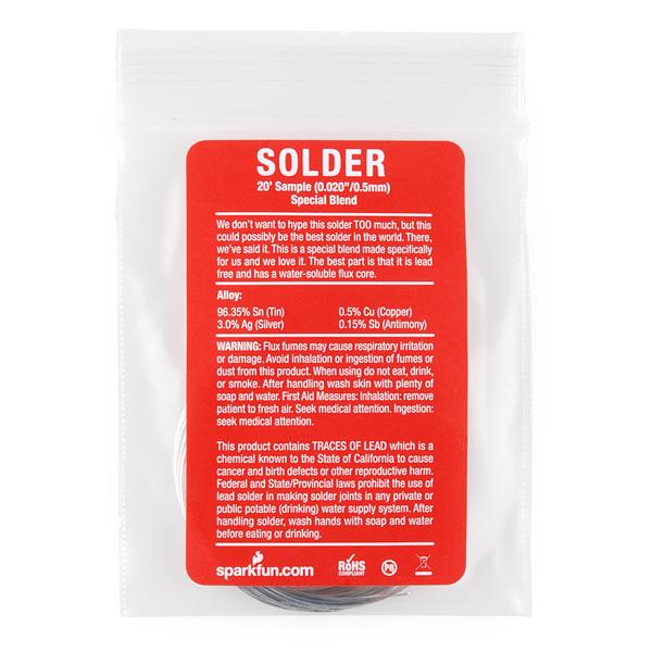 """Solder - 20' Sample (0.020"""") Special Blend"""