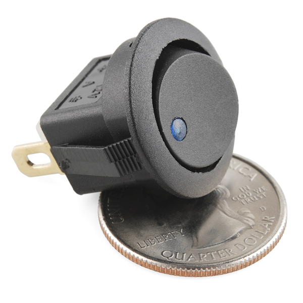 Rocker Switch - Round w/ Blue LED