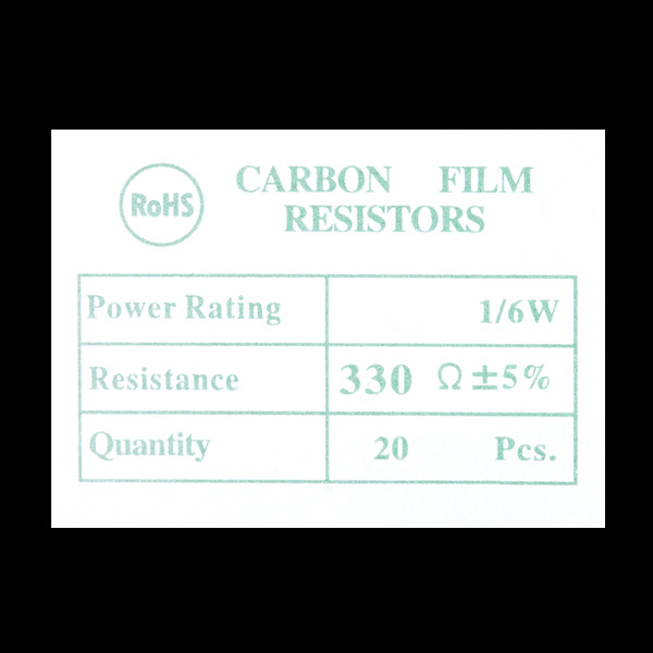 Resistor 330 Ohm 1/6 Watt PTH - 20 pack