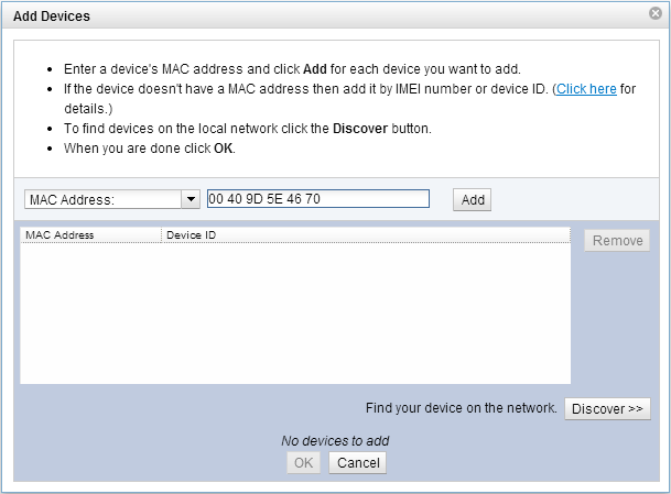Adding XBee MAC address