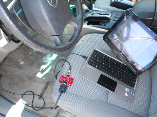 OBD-II UART connected to the car and the computer