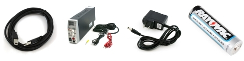 Left to Right: AC/DC power adapter, bench supply, battery, USB cable