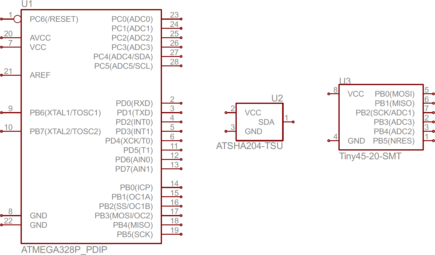 ATmega328, ATSHA204, and ATtiny45 IC symbols. Schematic ...