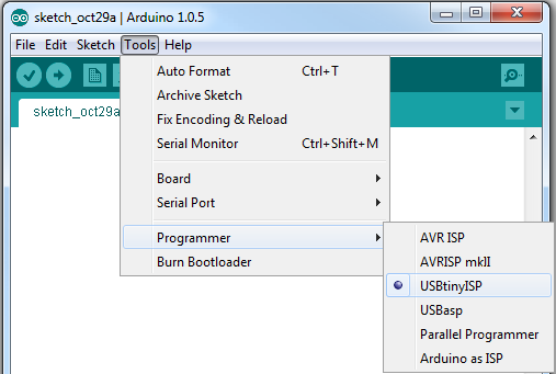 Arduino programmer selection