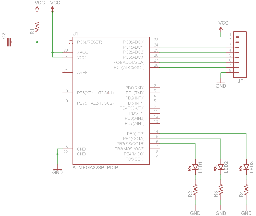 using eagle schematic learn sparkfun com wiring the atmega circuit