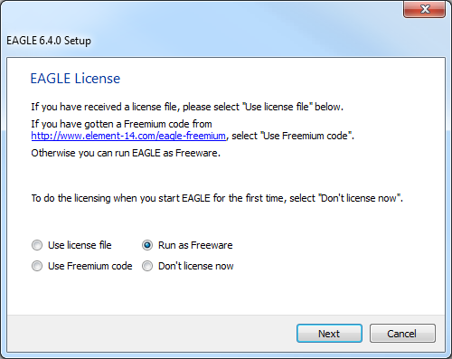 EAGLE license setup screen