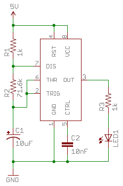 Example schematic with resistors - a 555 timer