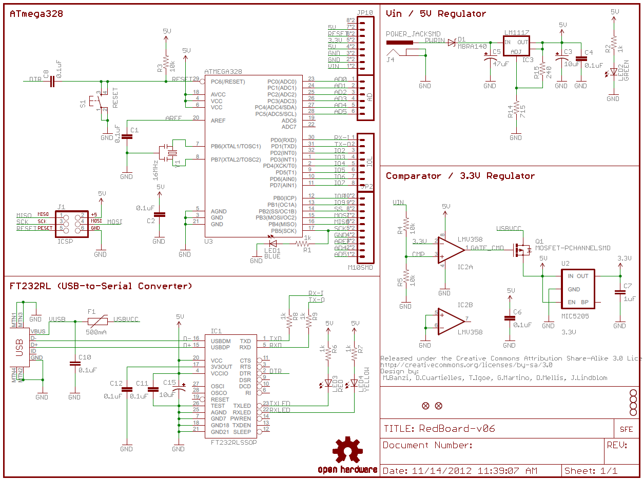 how to read a schematic learn sparkfun com  example of a sectioned schematic