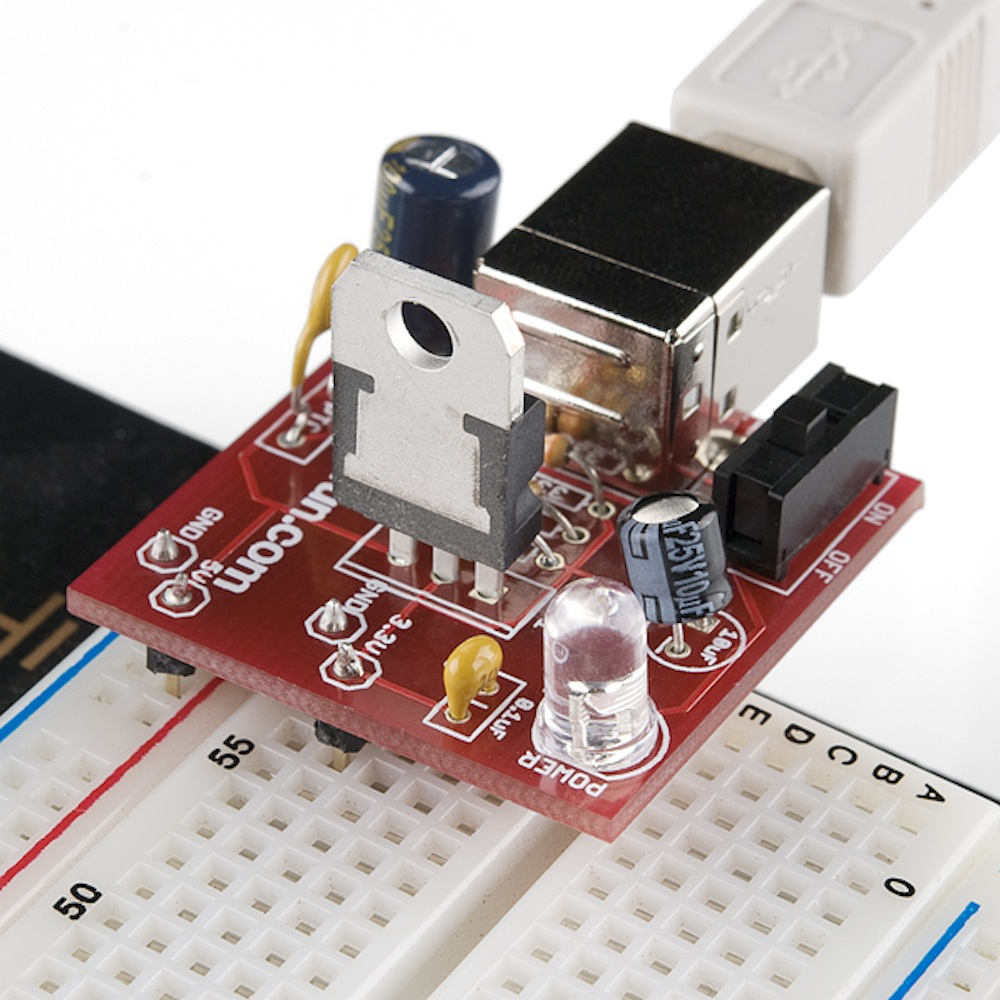 How To Use A Breadboard Adapter Circuit Diagram As Follows Sparkfun Usb Power Supply