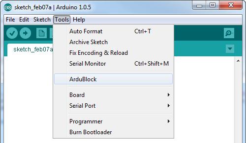 Tools > ArduBlock