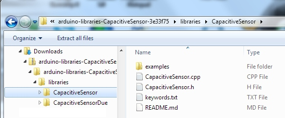 Example of Installed Capacitive Touch Arduino Library on Windows