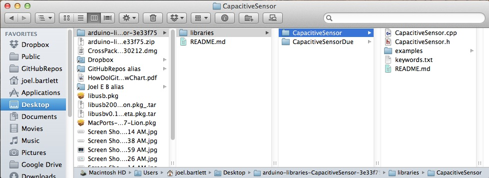 Example of Installed Capacitive Touch Arduino Library on Mac OS X