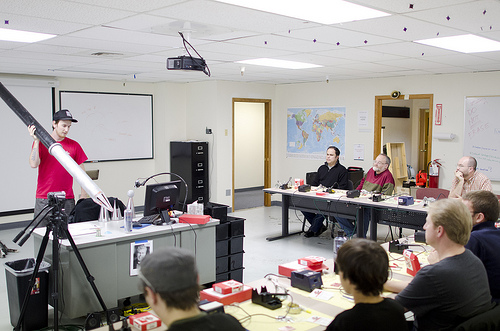Using the giant soldering iron in our PTH Soldering class at SparkFun Electronics