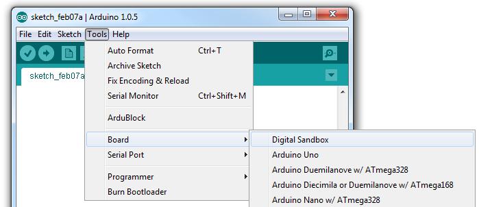 Tools > Board > Digital Sandbox
