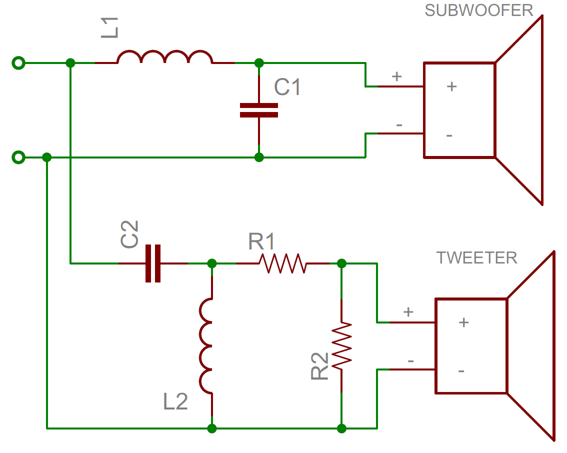 Capacitors From The Schematics It Can Be Seen If An In Output Is Ac Or Dc Coupled Crossover Schematic A Very Simple Example Of