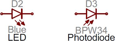 LED and Photodiode symbols