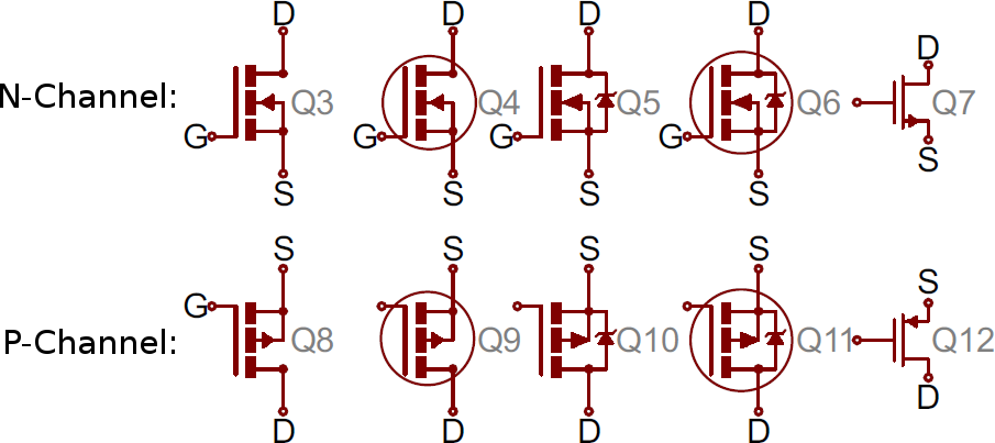 how to read a schematic learn sparkfun comvariety of mosfet symbols