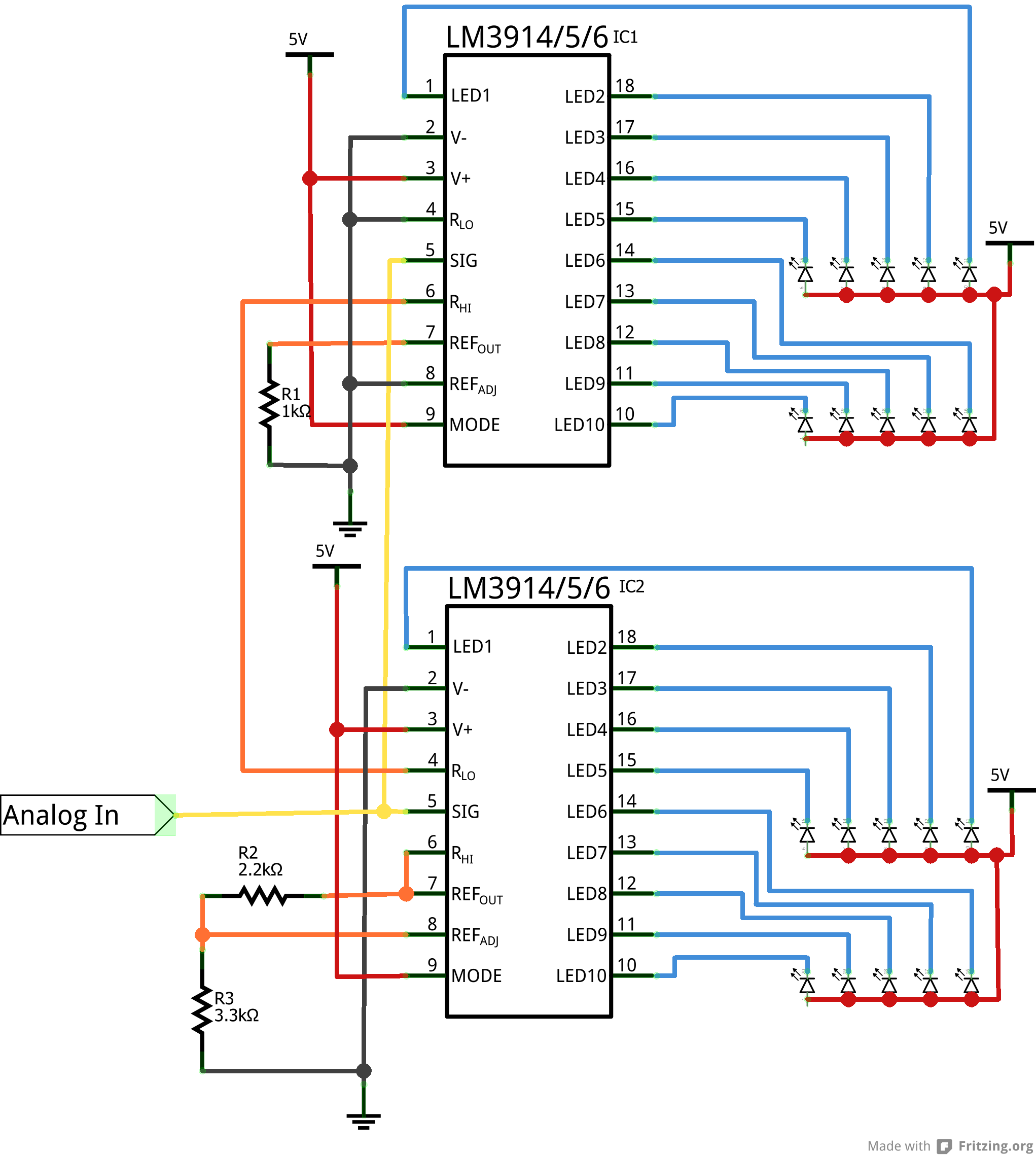 Dot Bar Display Driver Hookup Guide Variablerangeledvoltmeterprojectcircuit Cascade Schematic