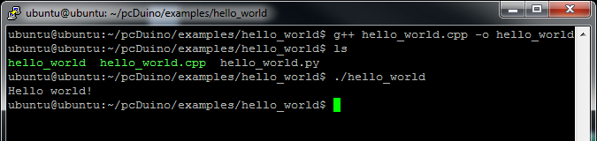 Hello world C++ output