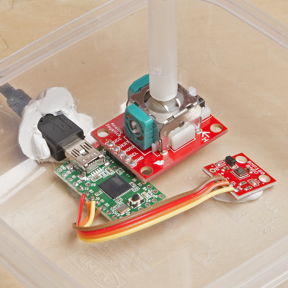 Enginursday Diy Assistive Technology Mouse News Sparkfun Box Enclosure For Intel Edison Development Board Electronics Circuit The Guts Of Our Contain A Teensy 20 Running Code To Register As An Hid Analog Joystick Breakout And 180 Pressure Sensor