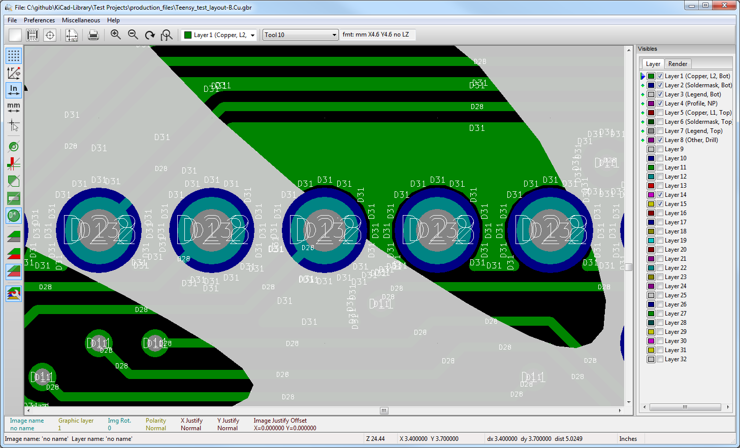 Enginursday Kicad And Open Source Design News Sparkfun Electronics Altium Training Programs Designer Introduction The Gerbview Program Here Im Checking To See That Silk Layer Was Cut Out Around Pth Annular Rings I Didnt Notice Before But Could Have