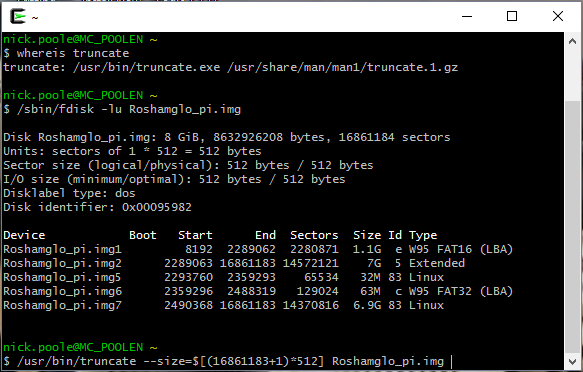 cygwin window showing fdisk and truncate in action