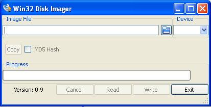 the win32diskimager interface