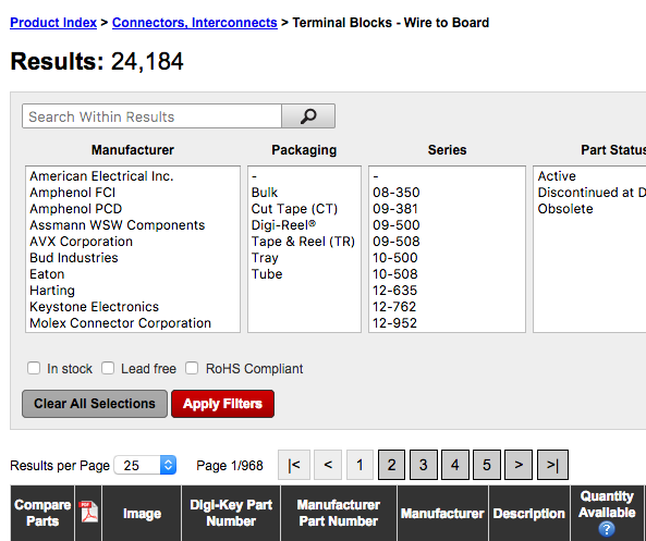 Screenshot of Board to Wire Search Query