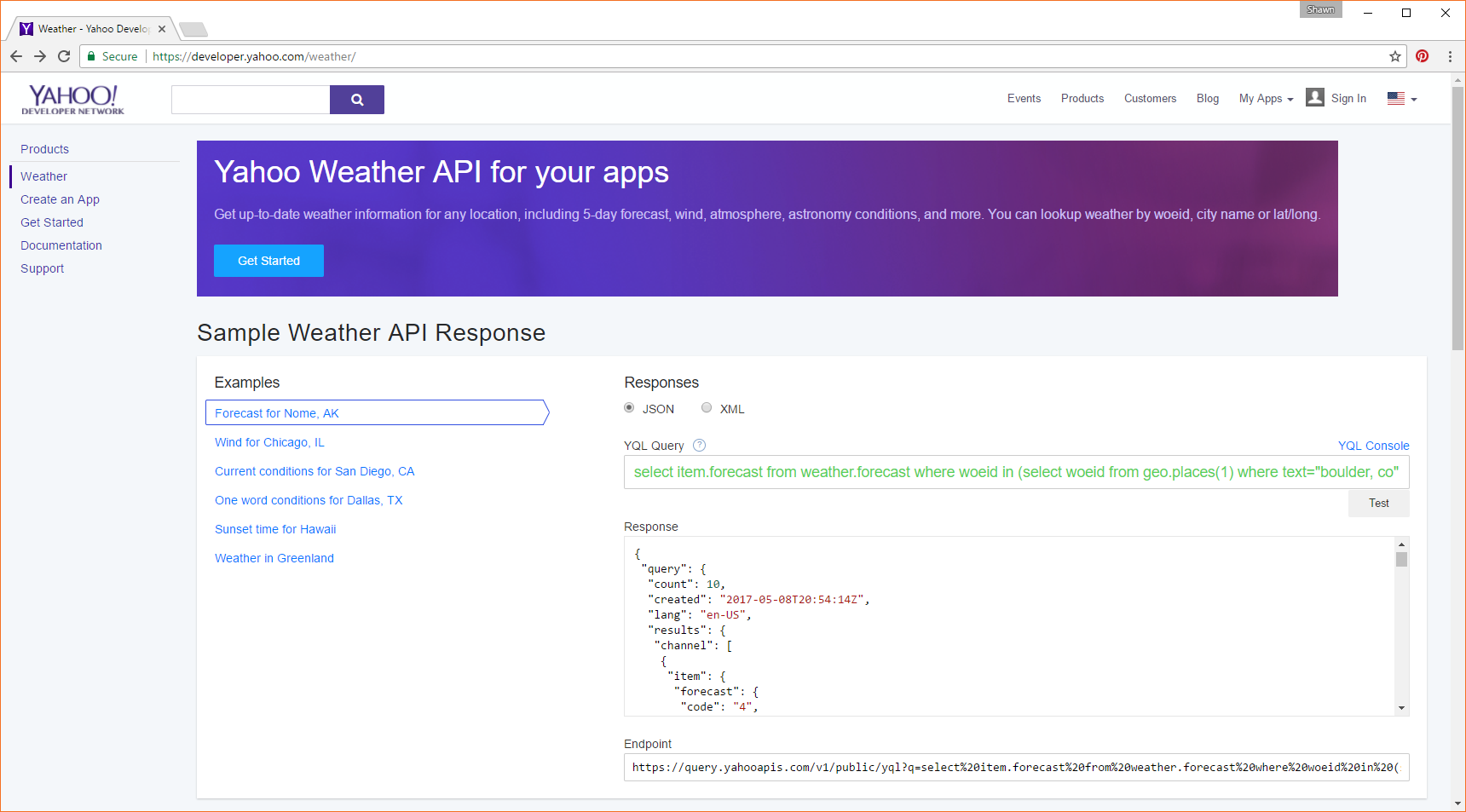Open Weather Map Api Example.Iotuesday Using Yahoo S Weather Api News Sparkfun Electronics