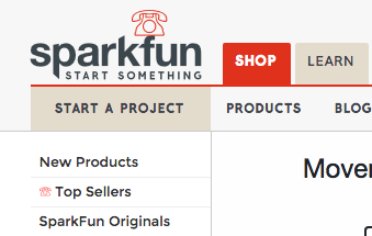 Screen shot showing the SparkFun logo as a telephone instead of a flame.