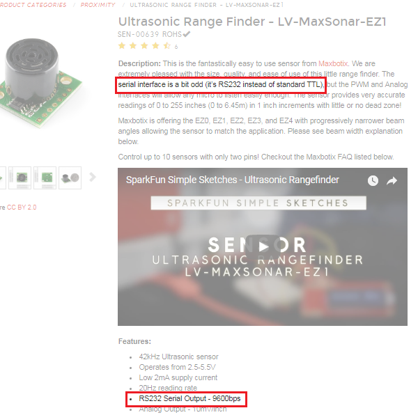 Ultrasonic Range Finder Description: RS232