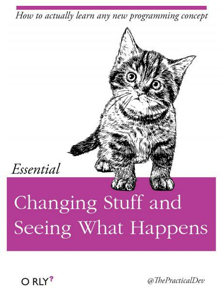 "O'reilly style book cover for an imaginary book titled ""Changing Stuff and Seeing What Happens"""