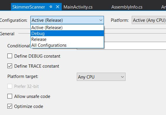 Screenshot of Visual Studio illustrating the build configuration menu