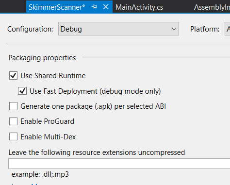 screenshot of Visual Studio illustrating the fast deploy option