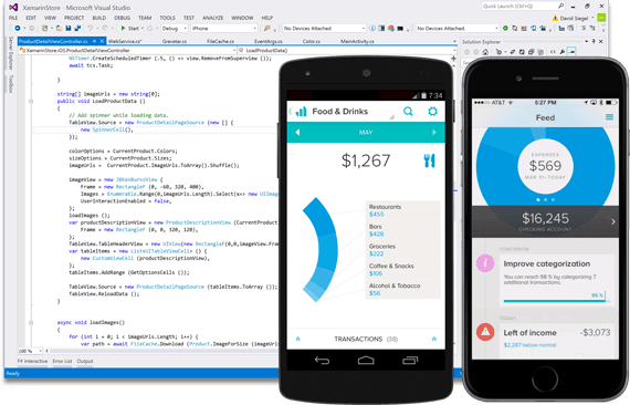 Xamarin promotional image showing code running on a variety of platforms