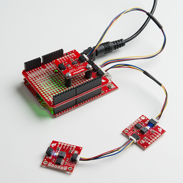 Several qwiic boards connected to a Qwiic Arduino shield