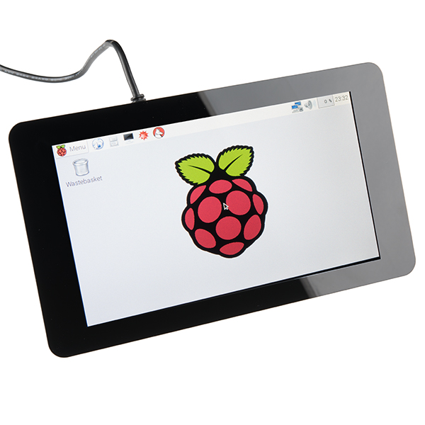 "Product photo showing the Raspberry Pi connected to a 7"" touchscreen display"