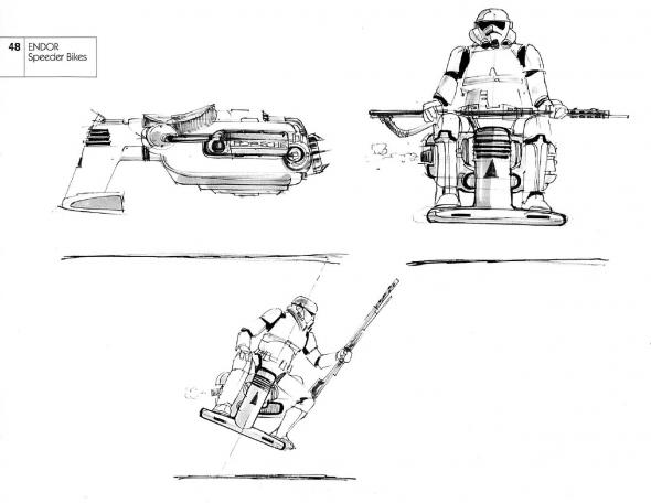 Early concept art of the Star Wars Speeder Bikes from Nilo Rodis-Jamero