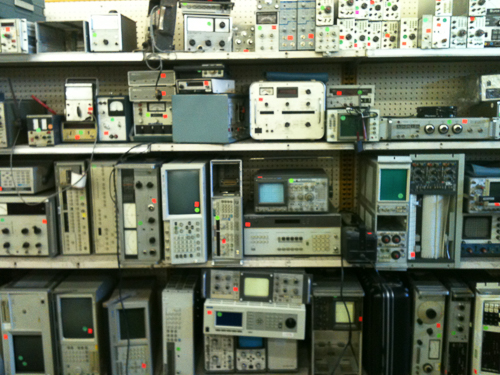Shelves filled with test equipment