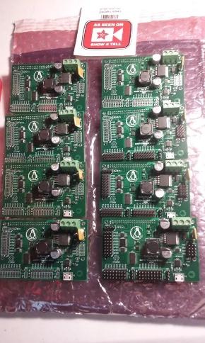 Eight hand-assembled Robomezzi boards