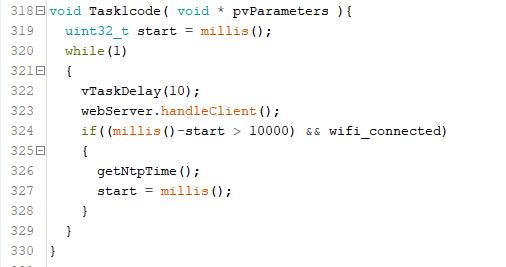Snapshot of task1 code