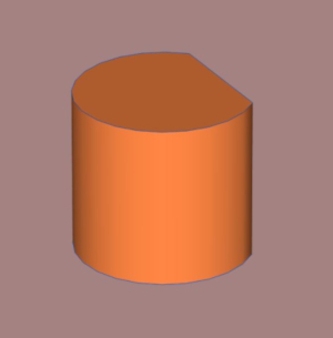 This pictures shows a model of a cylinder with one flat edge.