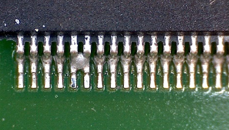 An example of Solder Bridging